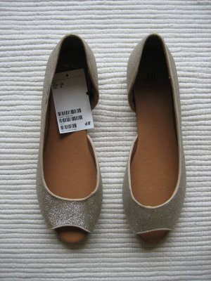 H&M Peep Toe Ballerinas gold-colored
