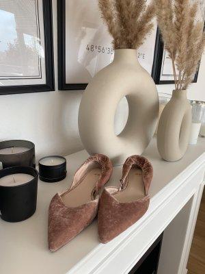 H&M Ballerinas Slippers Rosa Samt Gr.37 Wie Neu