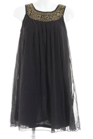 H&M Ballonkleid schwarz-goldfarben Glanz-Optik