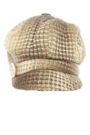 H&M Baker's Boy Cap brown-cream check pattern casual look