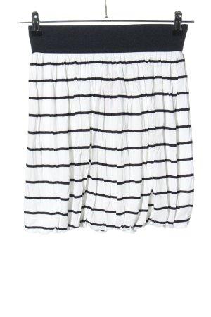H&M Balonowa spódniczka biały-czarny Wzór w paski W stylu casual
