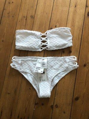 H&M Bandeau Bikini Weiß Lace Up Blogger Ibiza Crochet Strick Spitze