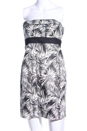 H&M Bandeau Dress black-white flower pattern casual look