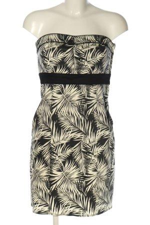 H&M Bandeaukleid wollweiß-schwarz abstraktes Muster Casual-Look