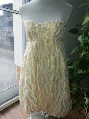 H&M vestido de globo blanco-color oro