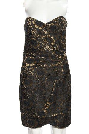 H&M Bandeaujurk zwart-goud volledige print elegant