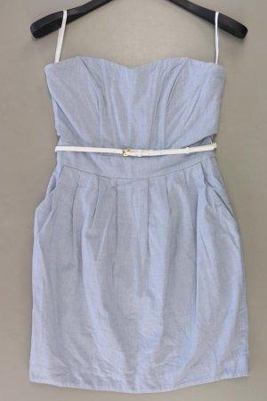 H&M Bandeaukleid Größe 38 mit Gürtel Ärmellos blau aus Baumwolle