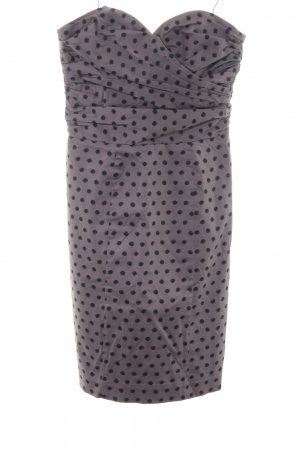 H&M Bandeaukleid hellgrau-schwarz Punktemuster Elegant