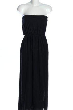 H&M Sukienka z dekoltem typu bandeau czarny Tkanina z mieszanych włókien