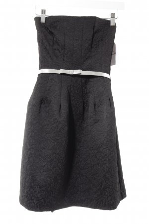 H&M Sukienka z dekoltem typu bandeau czarny-srebrny Ozdobny haft