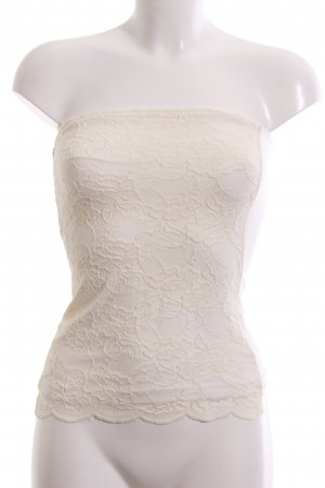 H&M Top z dekoltem typu bandeau kremowy Elegancki