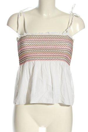 H&M Top z dekoltem typu bandeau biały-czerwony Wyhaftowany logo W stylu casual