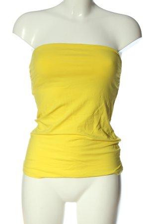 H&M Top z dekoltem typu bandeau bladożółty W stylu casual