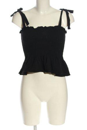 H&M Top z dekoltem typu bandeau czarny Pikowany wzór W stylu casual