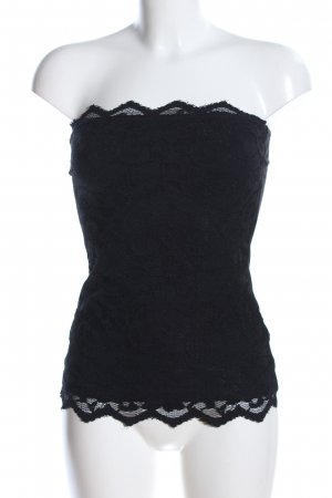 H&M Top z dekoltem typu bandeau czarny Elegancki