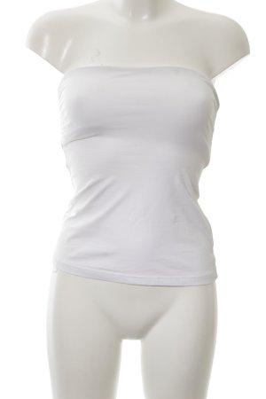 H&M Top z dekoltem typu bandeau biały W stylu casual