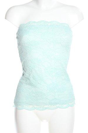 H&M Top z dekoltem typu bandeau turkusowy Elegancki