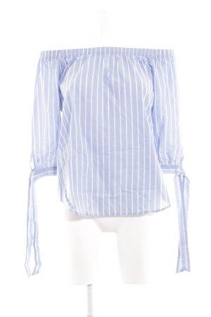 H&M Top z dekoltem typu bandeau niebieski-biały Wzór w paski Elegancki