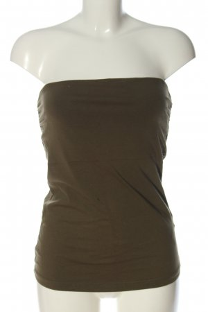 H&M Top z dekoltem typu bandeau khaki W stylu casual