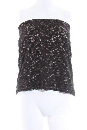 H&M Top z dekoltem typu bandeau czarny-w kolorze białej wełny Elegancki
