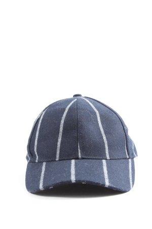 H&M Baseballpet blauw-wit gestreept patroon casual uitstraling