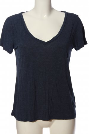 H&M Basic Basic Top blau meliert Casual-Look