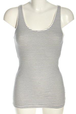 H&M Basic Basic Top schwarz-weiß Streifenmuster Casual-Look