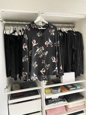 H&M Basic Bluse Vogel Print Tüll