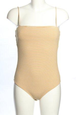 H&M Basic-Body hellorange-wollweiß Streifenmuster Casual-Look