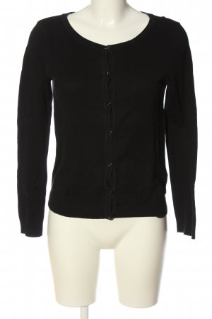 H&M Basic Cardigan schwarz Zopfmuster Casual-Look