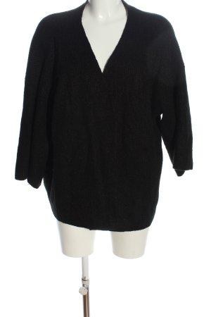 H&M Basic Cardigan schwarz Streifenmuster Elegant