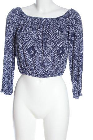 H&M Basic Camisa recortada azul-blanco estampado con diseño abstracto elegante