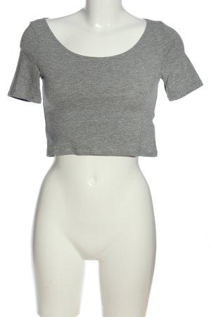 H&M Basic Cropped Top hellgrau meliert Casual-Look