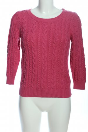 H&M Basic Coarse Knitted Sweater red cable stitch casual look