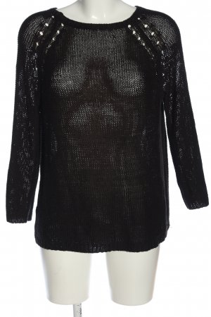 H&M Basic Crochet Sweater black casual look