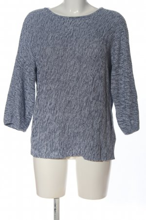 H&M Basic Crochet Sweater blue-light grey flecked casual look