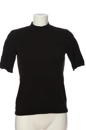 H&M Basic Rippshirt schwarz Casual-Look