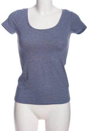 H&M Basic Kurzarm-Bluse blau meliert Casual-Look