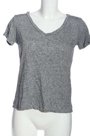 H&M Basic Kurzarm-Bluse hellgrau meliert Casual-Look