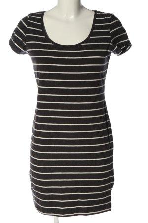 H&M Basic Kurzarmkleid braun-weiß meliert Casual-Look