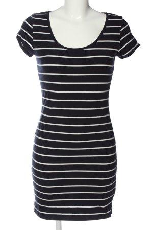 H&M Basic Kurzarmkleid schwarz-weiß Streifenmuster Casual-Look