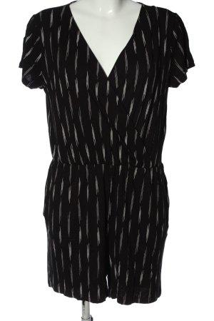 H&M Basic Kurzer Jumpsuit schwarz-creme abstraktes Muster Casual-Look