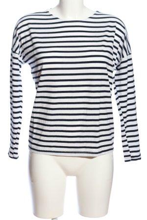 H&M Basic Langarm-Bluse weiß-schwarz Streifenmuster Casual-Look