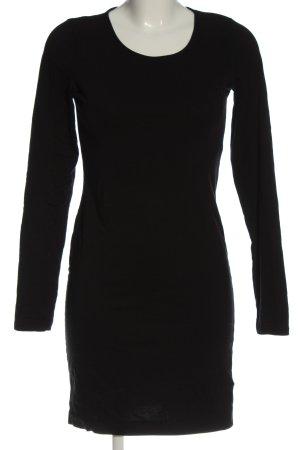 H&M Basic Langarmkleid schwarz Casual-Look