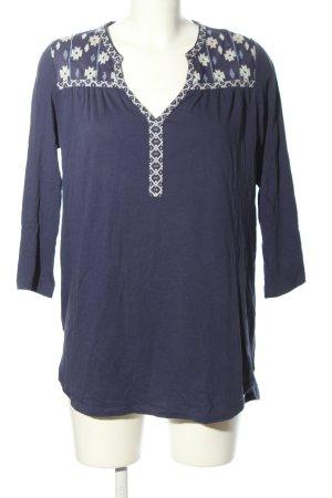 H&M Basic Longshirt blau-weiß grafisches Muster Casual-Look
