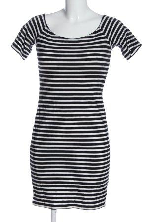 H&M Basic Kurzarmkleid weiß-schwarz Streifenmuster Casual-Look