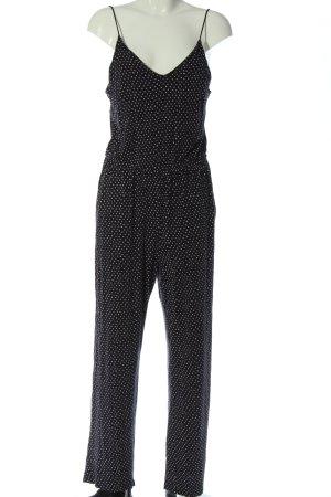 H&M Basic Langer Jumpsuit schwarz-weiß Allover-Druck Casual-Look