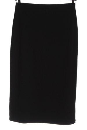 H&M Basic Midirock schwarz Streifenmuster Casual-Look