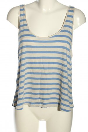 H&M Basic Muscle Shirt natural white-blue striped pattern casual look