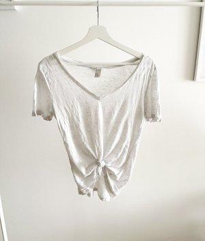 H&M Basic topje wit-lichtgrijs